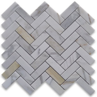 1x3 Herringbone Honed Calacatta Marble