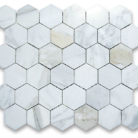 2x2 Honed Calacatta Marble Hexagon