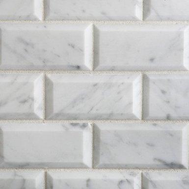 Carrara Marble HONED  2×4 Beveled Mosaics
