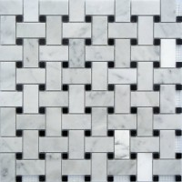 Carrara Marble Basketweave Mosaics