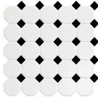 Alameda White Black Octagon Porcelain mosaics