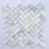 1x2 Herringbone Honed Calacatta Marble